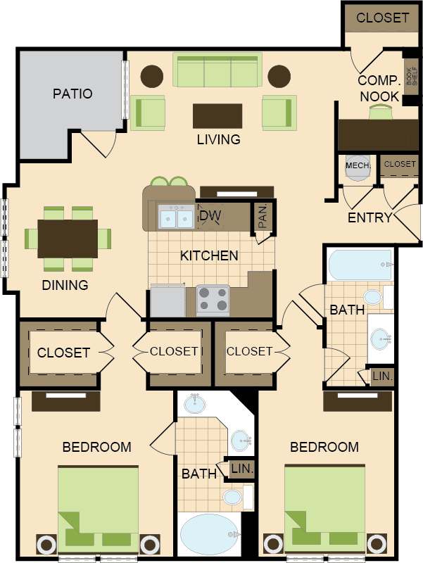 1,275 sq. ft. F2&F3 floor plan