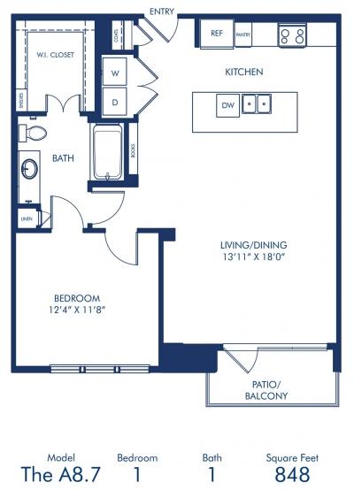 848 sq. ft. A8.7 floor plan