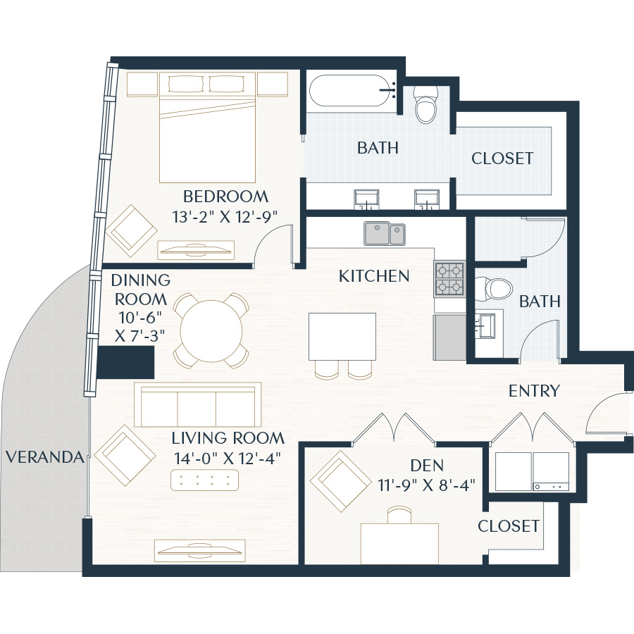 1,081 sq. ft. A6 floor plan