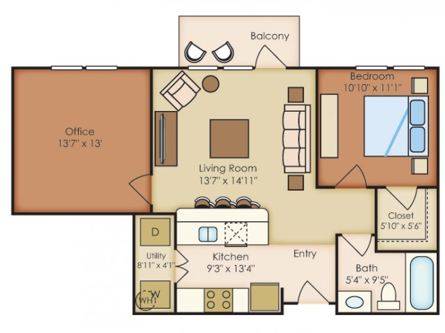 837 sq. ft. A4A floor plan