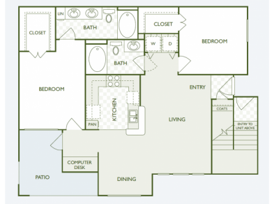1,119 sq. ft. B5.2 floor plan