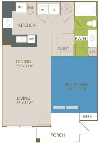716 sq. ft. A1 floor plan