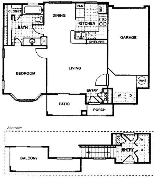 769 sq. ft. Aspen A2 floor plan