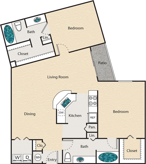 1,161 sq. ft. O - Westbury floor plan