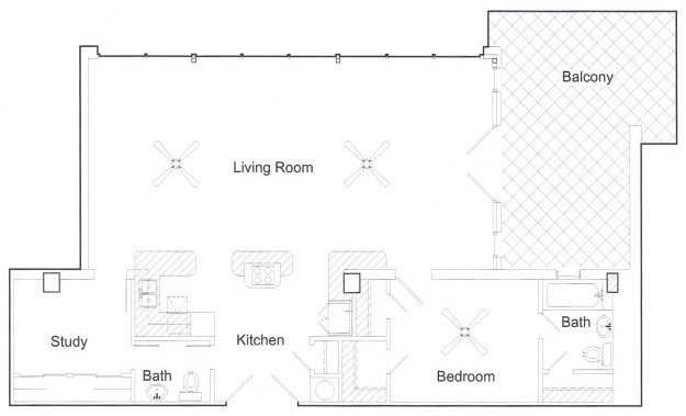 1,040 sq. ft. PH floor plan