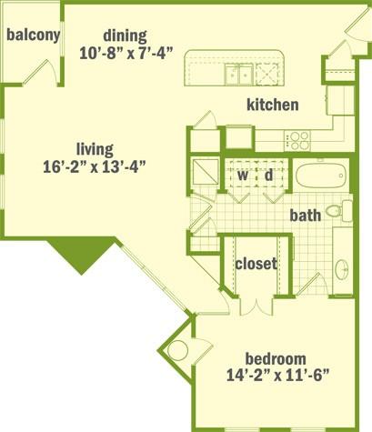 924 sq. ft. A3 floor plan