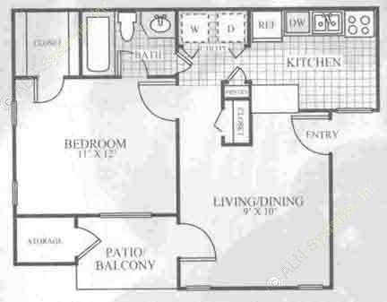 555 sq. ft. A1A floor plan
