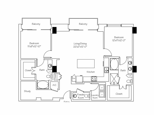 1,556 sq. ft. B8 floor plan