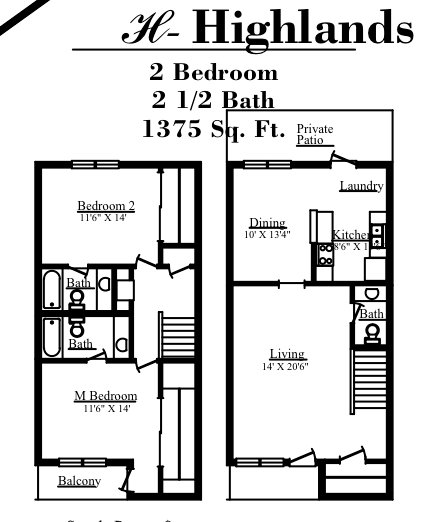 1,375 sq. ft. H floor plan
