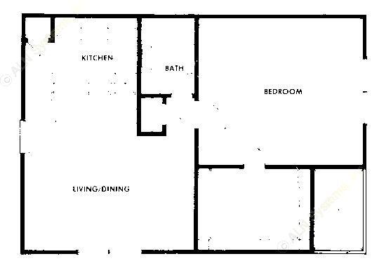 667 sq. ft. A5 floor plan