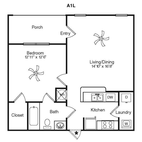 667 sq. ft. A1A-1G floor plan