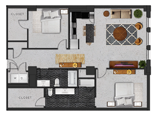 1,380 sq. ft. K floor plan