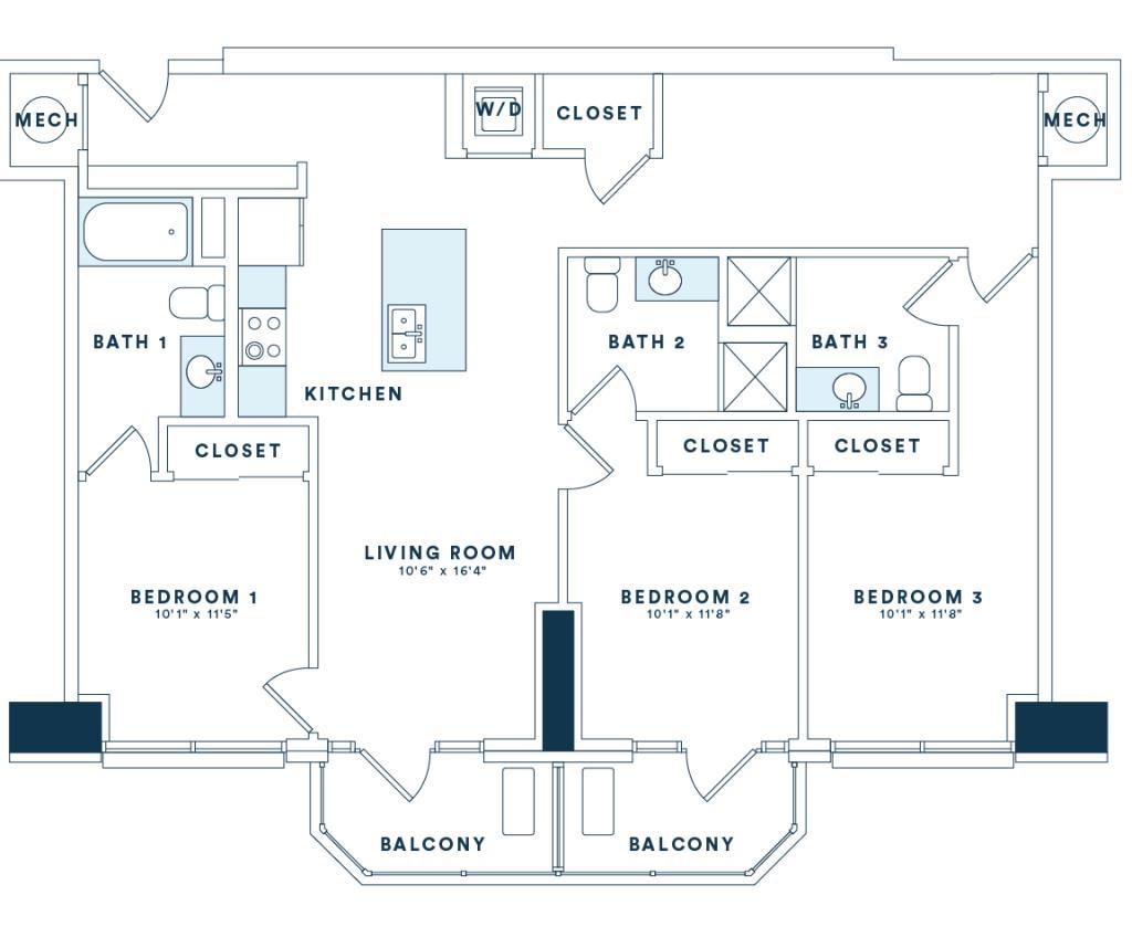 1,341 sq. ft. C1 floor plan