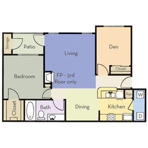 895 sq. ft. Plan B1 floor plan