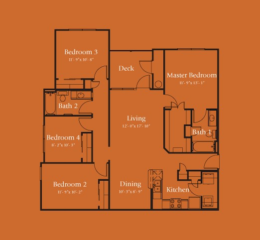 1,366 sq. ft. Nueces 60% floor plan