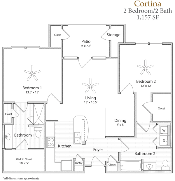 1,157 sq. ft. Cortina floor plan