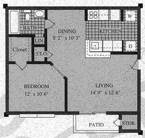 555 sq. ft. A-60% floor plan