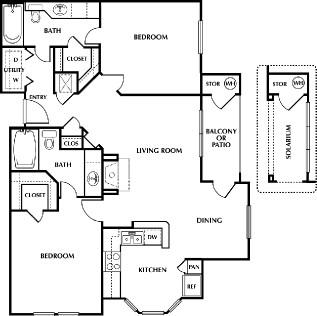 1,051 sq. ft. LaBelle floor plan