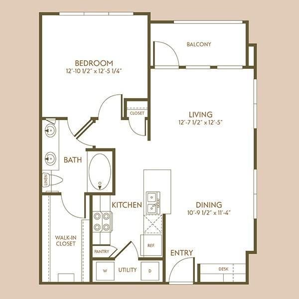 783 sq. ft. A5 floor plan