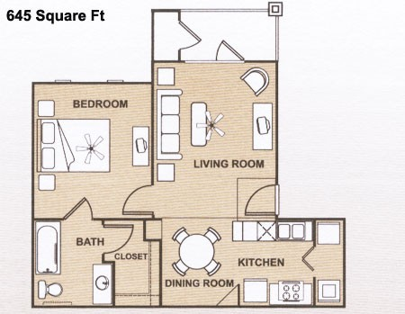 645 sq. ft. A 60% floor plan
