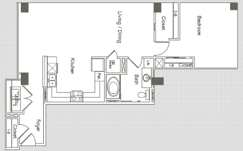 908 sq. ft. A10 floor plan