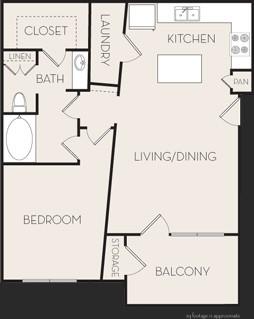 748 sq. ft. A1 floor plan