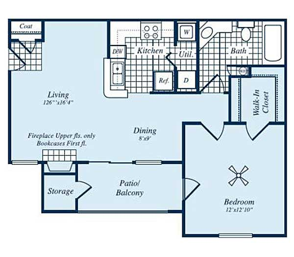 700 sq. ft. Somerville floor plan