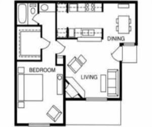 687 sq. ft. Cedar floor plan