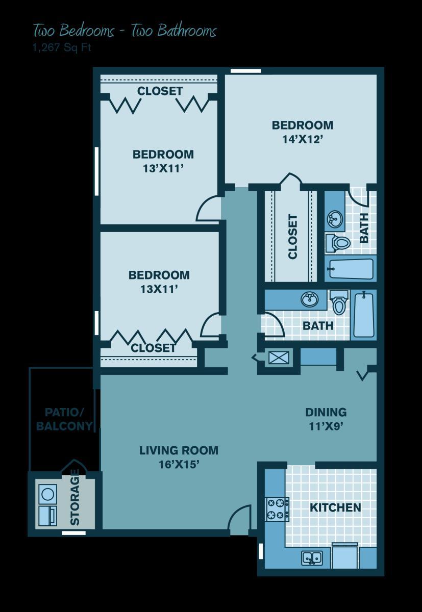 1,267 sq. ft. floor plan