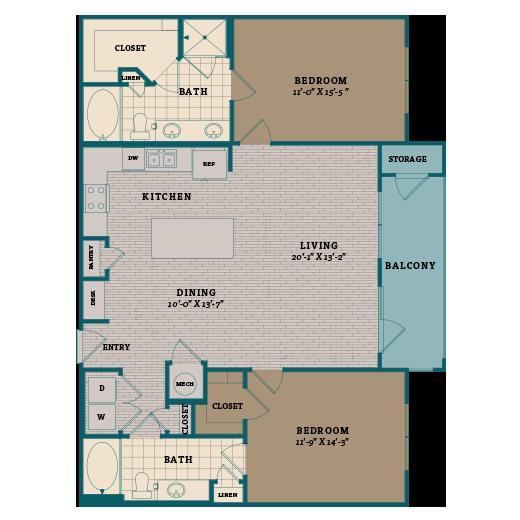 1,249 sq. ft. C2 floor plan
