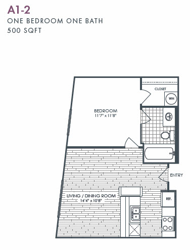 500 sq. ft. A1-2 floor plan