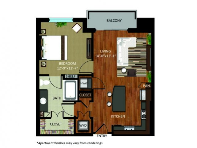 778 sq. ft. A6 floor plan