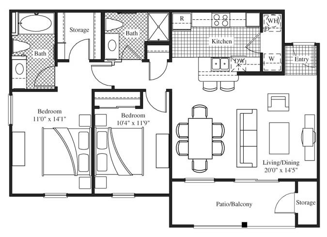 1,030 sq. ft. to 1,053 sq. ft. Carneros floor plan