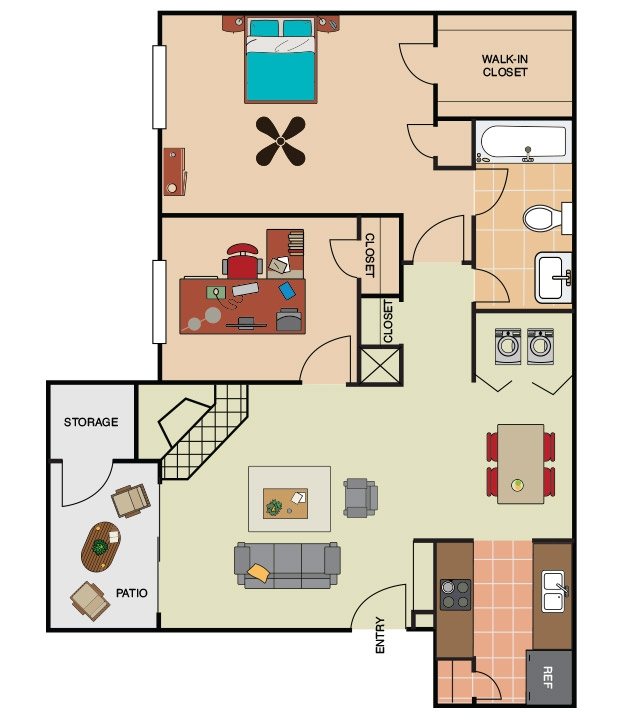 844 sq. ft. A3 floor plan