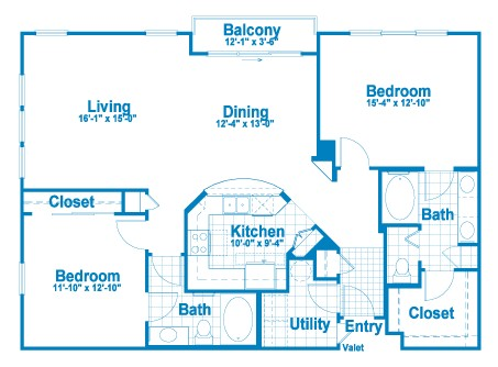 1,370 sq. ft. B1 floor plan