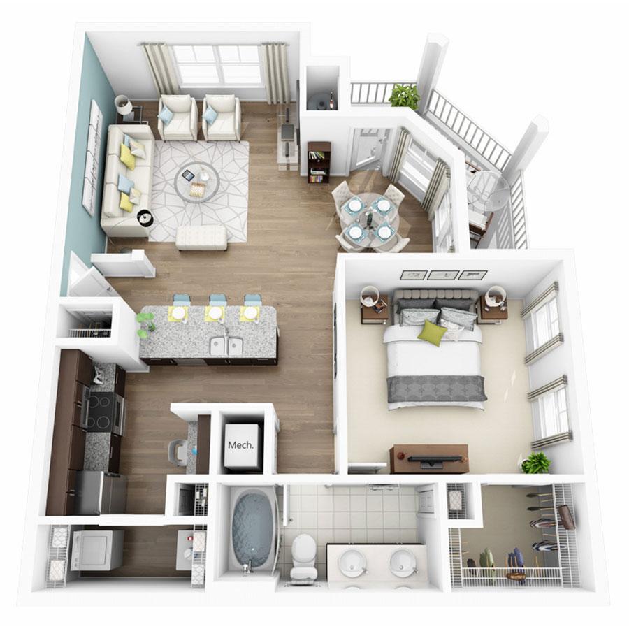 861 sq. ft. Aura floor plan