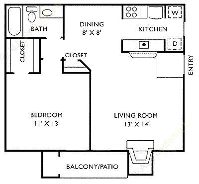 826 sq. ft. C floor plan