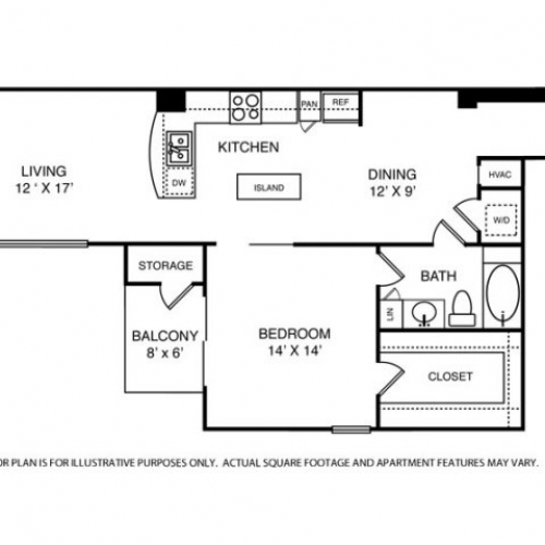 1,051 sq. ft. A9 floor plan