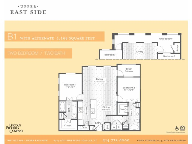 1,168 sq. ft. B1 floor plan