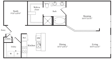1,085 sq. ft. N floor plan