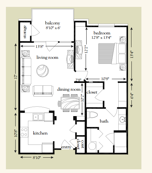 792 sq. ft. Cypress floor plan