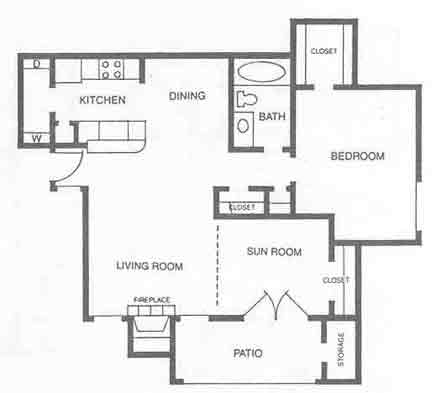 802 sq. ft. A4 floor plan