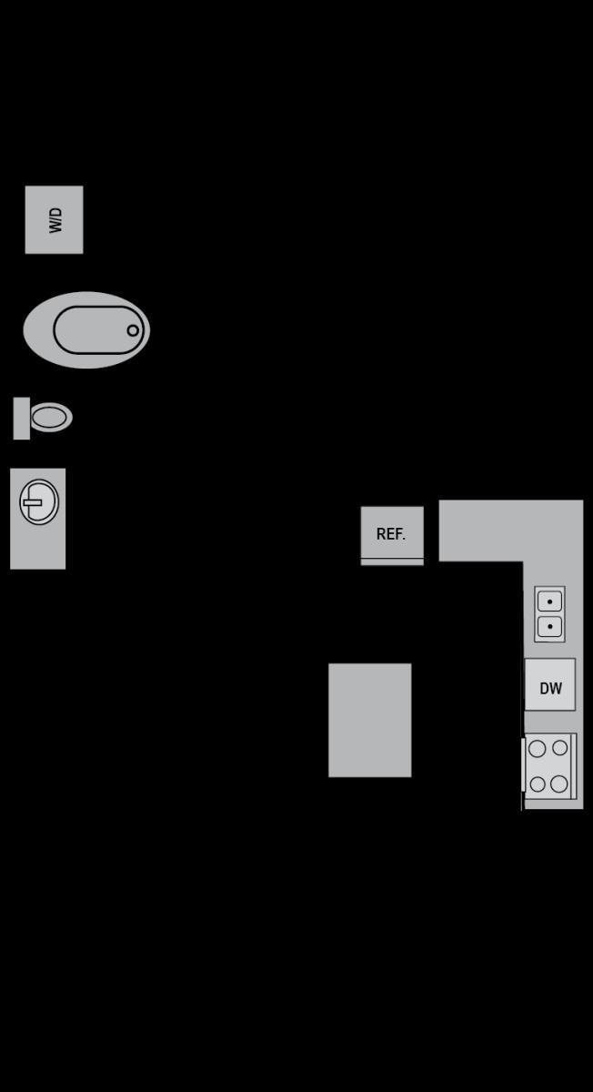 680 sq. ft. A3 floor plan