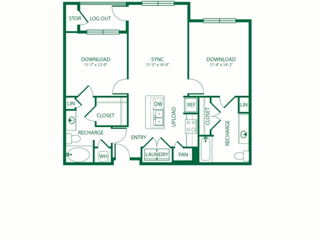 1,012 sq. ft. B1Ansi Bandwidth floor plan
