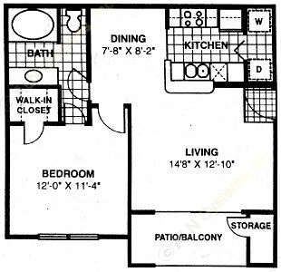 631 sq. ft. A1 floor plan