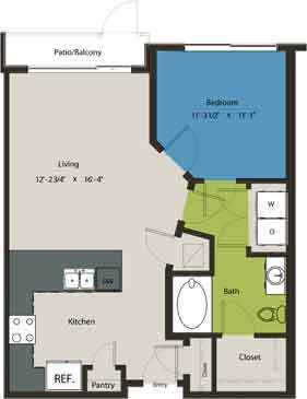 728 sq. ft. A1D floor plan