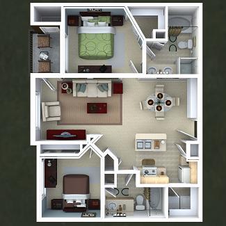 1,057 sq. ft. Nutmeg floor plan