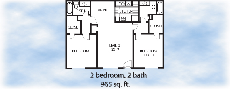 965 sq. ft. 2-2 floor plan