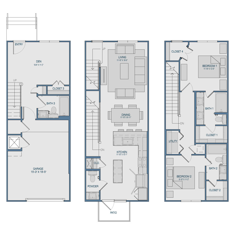 1,526 sq. ft. TH2 floor plan