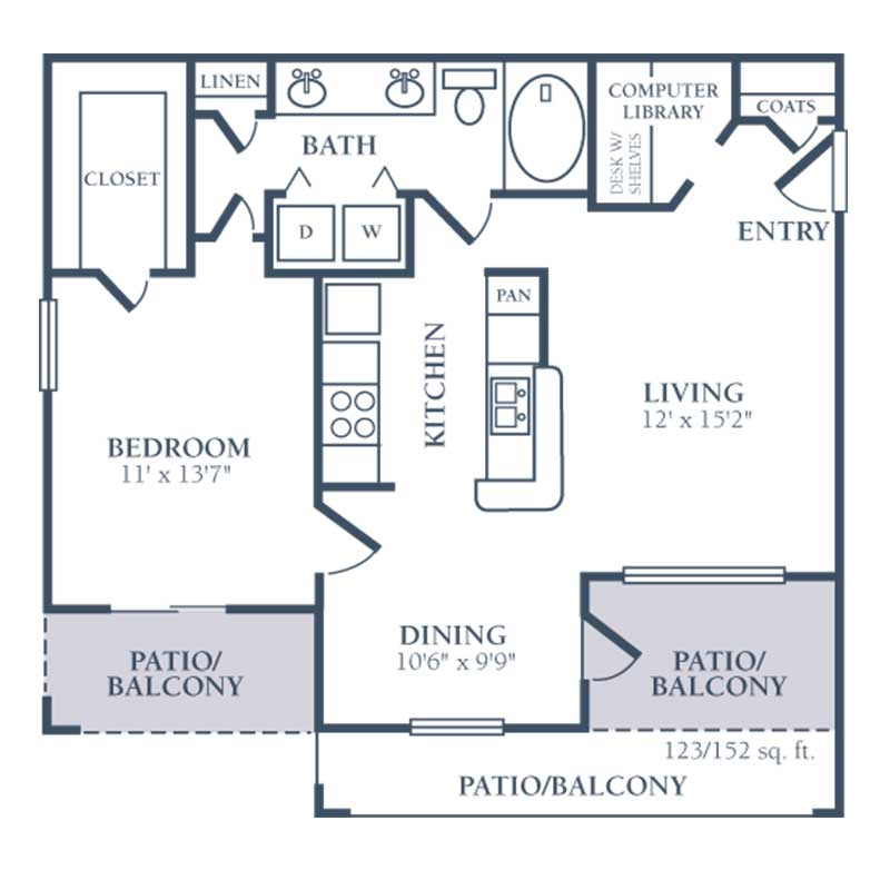 802 sq. ft. C floor plan